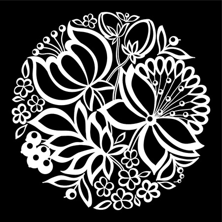 circular: beautiful monochrome black and white flowers and leaves isolated. Floral design for greeting card and invitation of wedding, birthday, Valentines Day, mothers day and seasonal holiday Illustration