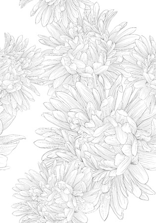 aster: Beautiful monochrome black and white seamless background with flowers. background for design for greeting card and invitation of the wedding, birthday, Valentines Day, mothers day and other seasonal holiday