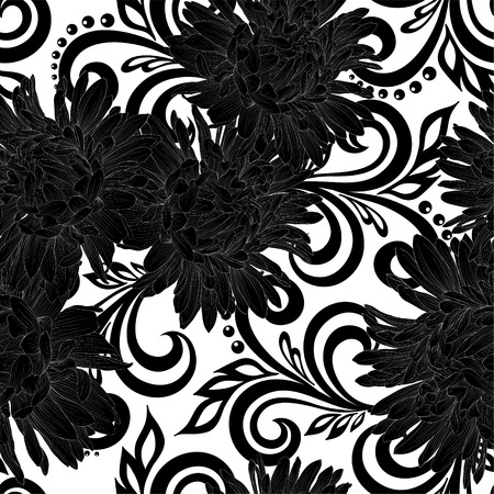 black swirls: Beautiful monochrome black and white seamless pattern with aster flowers and abstract floral swirls. design for greeting card and invitation of the wedding, birthday, Valentines Day, mothers day and other seasonal holiday