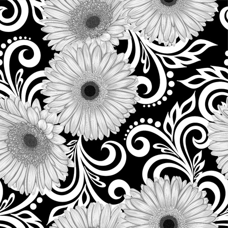 Beautiful monochrome, black and white seamless pattern with gerbera flowers and abstract floral swirls. design for greeting card and invitation of the wedding, birthday, Valentine's Day, mother's day and other seasonal holiday Vector Illustration