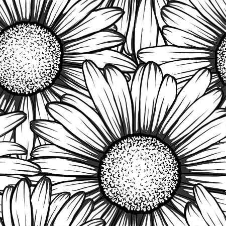 flower sketch: Beautiful monochrome black and white seamless background with flowers daisy. for greeting cards and invitations of wedding, birthday, Valentines Day, mothers day and other seasonal holiday