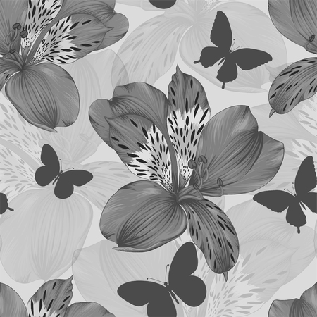 flower  hand: beautiful black and white seamless pattern alstroemeria and silhouettes of butterflies. background greeting card and invitation of wedding, birthday, Valentines Day, mothers day and other holiday Illustration
