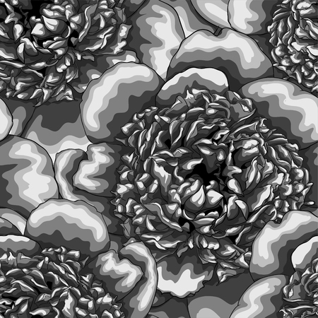 vintage patterns: monochrome black and white seamless background peonies. Hand-drawn with effect of drawing in watercolor. design for greeting card and invitation of the wedding, birthday, Valentines Day, mothers day and other seasonal holiday.