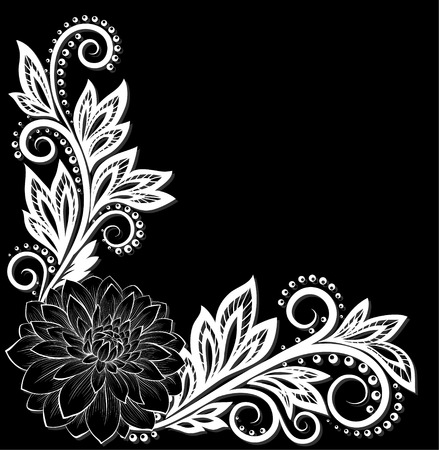 floral corner: monochrome black and white lace flower in the corner. With space for your text. design for greeting card and invitation of the wedding, birthday, Valentines Day, mothers day and other seasonal holiday Illustration
