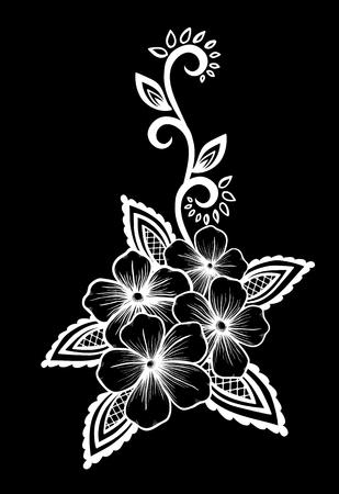 broderie: monochrome noir et blanc fleur de dentelle dans le coin. Avec un espace pour votre texte. design pour carte de voeux et d'invitation du mariage, anniversaire, Saint-Valentin, le jour de mère et d'autres vacances saisonnière