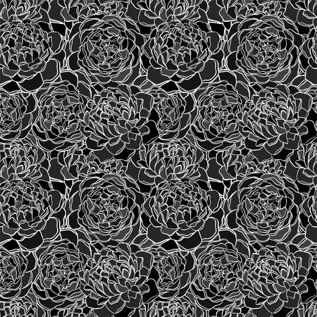 black and white image: seamless background with monochrome black and white flowers.contour lines. background for design for greeting card and invitation of the wedding, birthday, Valentines Day, mothers day and other seasonal holiday Illustration