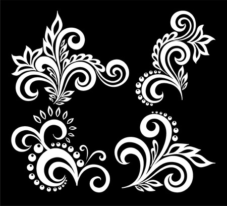 embroidery: set of beautiful monochrome black and white flowers and leaves isolated. Floral design for greeting card and invitation of wedding, birthday, Valentines Day, mothers day and seasonal holiday