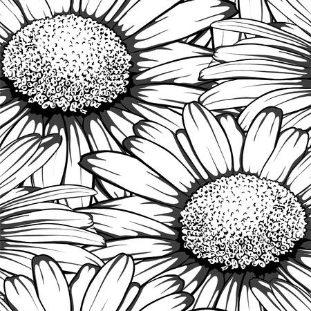 silhouette fleur: Belle noir monochrome et blanc sans soudure de fond avec des fleurs de marguerite. pour les cartes de voeux et invitations de mariage, anniversaire, Saint-Valentin, le jour de mère et d'autres vacances saisonnière Illustration