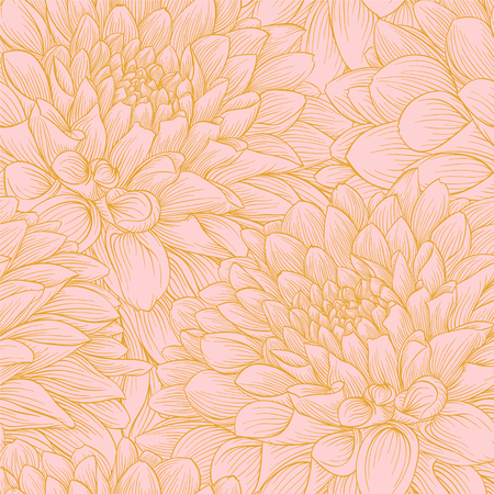 wedding background: Beautiful seamless background with pink and gold dahlia. background for design for greeting card and invitation of the wedding, birthday, Valentines Day, mothers day and other seasonal holiday Illustration