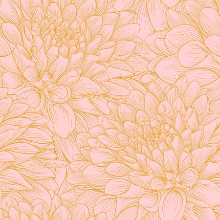 Mooie naadloze achtergrond met roze en gouden dahlia. achtergrond voor ontwerp voor de wenskaart en uitnodiging van de bruiloft, verjaardag, Valentijnsdag, moederdag en andere seizoensgebonden vakantie