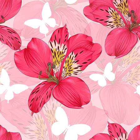 tiger lily: Beautiful seamless background with pink and red alstroemeria flower. design greeting card and invitation of the wedding, birthday, Valentines Day, mothers day and other seasonal holiday. Illustration