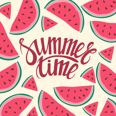 time frame: frame background card Summer Time Seamless background with watermelon slices. Vector illustration. design for greeting card and invitation of seasonal summer holiday Illustration