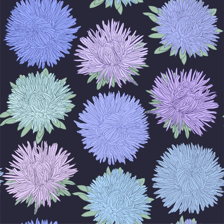 aster: Beautiful seamless pattern with aster flowers. design for greeting card and invitation of the wedding, birthday, Valentines Day, mothers day and other seasonal holidays Illustration