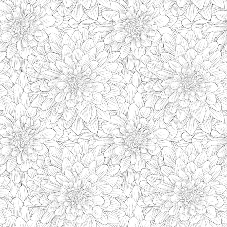 beautiful black and white seamless pattern in dahlia. background for design for greeting card and invitation of the wedding, birthday, Valentine's Day, mother's day and other seasonal holiday