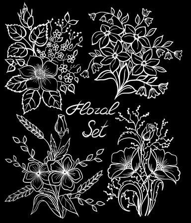 butterfly flower: beautiful monochrome black and white floral collection with leaves and flowers set. design for greeting card and invitation of the wedding, birthday, Valentines Day, mothers day and other seasonal holidays.