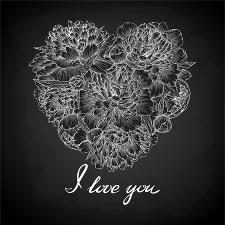 Beautiful monochrome black and white heart decorated by flowers peony. I love you. for greeting cards and invitations of wedding, birthday, Valentines Day, mothers day and other seasonal holiday Illustration