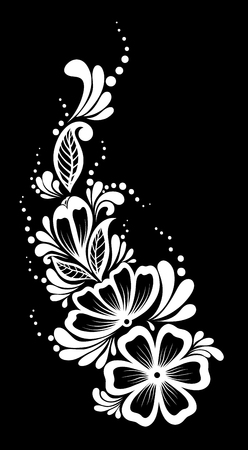 vine border: beautiful monochrome black and white flowers and leaves isolated. Floral design for greeting card and invitation of wedding, birthday, Valentines Day, mothers day and seasonal holiday Illustration