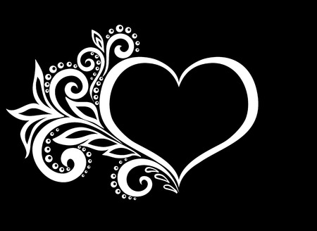 flower heart: beautiful monochrome black and white silhouette of the heart of lace flowers, tendrils and leaves isolated.Floral design for greeting card and invitation of wedding, birthday, Valentines Day, mothers day and seasonal holiday