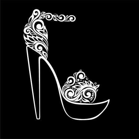 heel: beautiful monochrome black and white sandals, decorated with floral ornament isolated. Floral design for greeting card and invitation of wedding, birthday, Valentines Day, mothers day and seasonal holiday