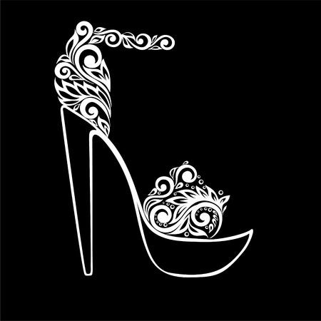 calcanhares: bela monocromáticas sandálias preto e branco, decorado com ornamento floral isolado. design floral para o cartão e convite de casamento, aniversário, Dia dos Namorados, Dia das Mães e feriado sazonal