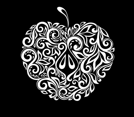 doodling: beautiful monochrome black and white apple decorated with floral pattern isolated. Floral design for greeting card and invitation of wedding, birthday, Valentines Day, mothers day and seasonal holiday Illustration