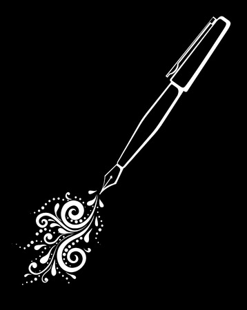 beautiful monochrome black and white outline of an ink pen with a painted floral design of curves and curls isolated.  Floral design for greeting card and invitation of wedding, birthday, Valentines Day, mothers day and seasonal holiday