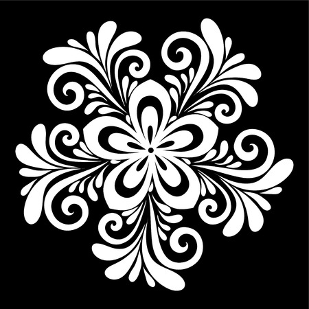 art logo: beautiful monochrome black and white flowers and leaves isolated. Floral design for greeting card and invitation of wedding, birthday, Valentines Day, mothers day and seasonal holiday Illustration