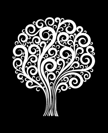 beautiful monochrome black and white tree in a flower design with swirls and flourishes isolated. Floral design for greeting card and invitation of wedding, birthday, Valentines Day, mothers day and seasonal holiday Ilustracja