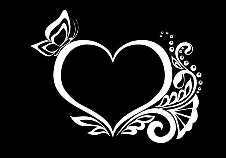 bello in bianco e nero in bianco e bianca sagoma di cuore di fiori di pizzo, viticci e foglie di progettazione isolated.Floral per biglietto di auguri e invito di nozze, di compleanno, San Valentino, festa della mamma e stagionale vacanza