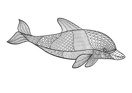 bordados: hermoso monocromático negro y el delfín blanco con broche de oro elemento decorativo. Mano vector dibujado aislado en el fondo blanco. época boceto para el diseño de tatuaje o mehandi.