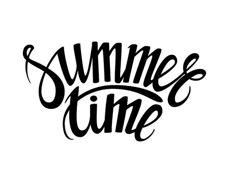 summertime: Hand drawn phrase Summer time isolated on the white background. Hand lettering calligraphy greeting card or invitation for summer party template and other seasonal Summer holiday. Vector texture.