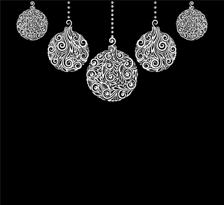 hangings: beautiful monochrome Black and White Christmas background with Christmas balls Hanging . Great for greeting cards