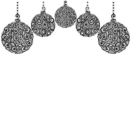 mooie zwart-wit Black and White Christmas achtergrond met kerstballen Opknoping. Geweldig voor wenskaarten Stock Illustratie