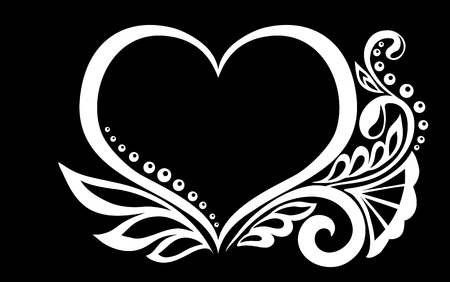 beautiful monochrome black and white silhouette of the heart of lace flowers, tendrils and leaves isolated.Floral design for greeting card and invitation of wedding, birthday, Valentines Day, mothers day and seasonal holiday