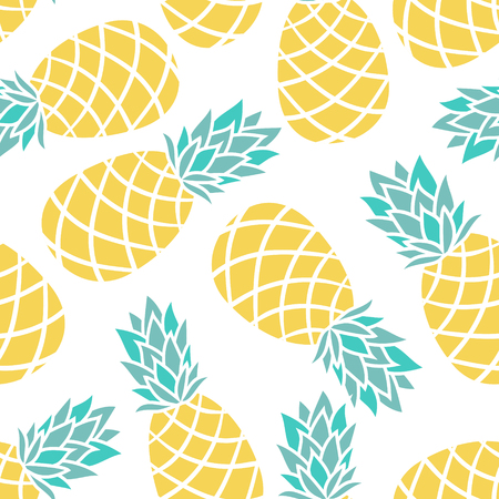 Cartoon pineapple on a white background. Simple vector background Cute summer pattern Seamless textile illustration in vintage style. design for greeting card and invitation of seasonal summer holiday Imagens - 64736845