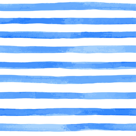 Beautiful seamless pattern with blue watercolor stripes. hand painted brush strokes, striped background.