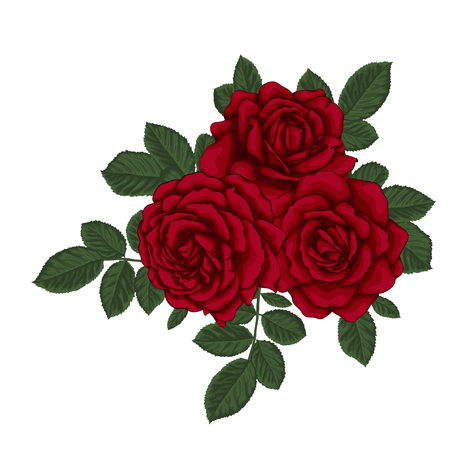 floral arrangement: beautiful bouquet with three red roses and leaves. Floral arrangement. design greeting card and invitation of the wedding, birthday, Valentines Day, mothers day and other holiday.