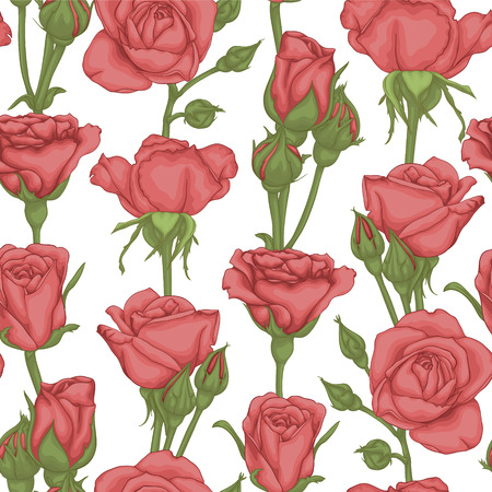 rosebuds: beautiful vintage seamless pattern with rosebuds, leaves and stems. design greeting card and invitation of the wedding, birthday, Valentines Day, mothers day and other holiday Illustration