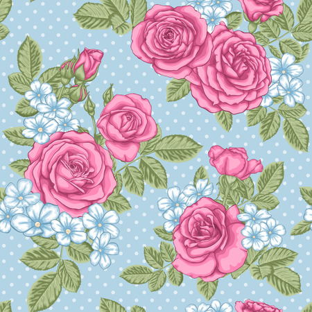 vintage patterns: beautiful vintage seamless pattern with bouquets of roses and leaves. design greeting card and invitation of the wedding, birthday, Valentines Day, mothers day and other holiday Illustration