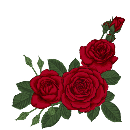 3 つの赤いバラと葉を持つ美しい花束。フラワーアレンジメント。グリーティング カードと招待状の結婚式、誕生日、バレンタインデー、母の日、