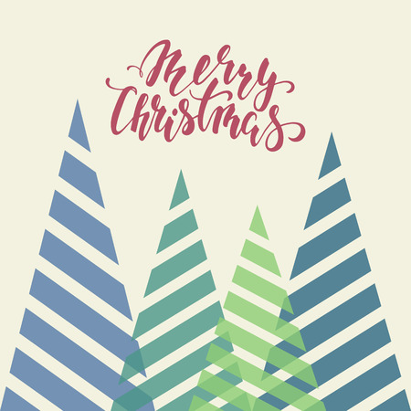 trees seasonal: Vintage triangular stylized Christmas trees. Hand drawn calligraphy Merry Christmas lettering. design holiday greeting cards and invitations of Merry Christmas and Happy New Year and seasonal holidays