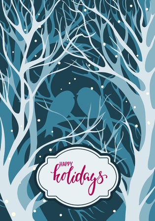 trees seasonal: Silhouettes pair of lovers of birds sitting on the bare winter trees in snowy weather. Handdrawn lettering Merry Christmas.. design for holiday greeting cards and invitations of the Merry Christmas and Happy New Year and seasonal holidays. vector