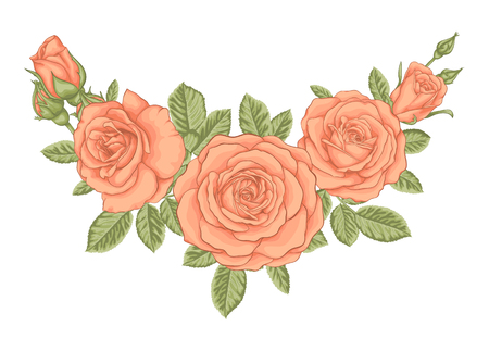 floral arrangement: beautiful bouquet with vintage orange roses and leaves. Floral arrangement. design greeting card and invitation of the wedding, birthday, Valentines Day, mothers day and other holiday.