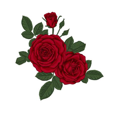 Mooi boeket met rode rozen en bladeren. Bloemen arrangement. Ontwerp wenskaart en uitnodiging van de bruiloft, verjaardag, Valentijnsdag, moederdag en andere vakantie