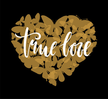 true love Hand drawn calligraphy and brush pen lettering with gold heart with butterfly. design for holiday greeting card and invitation of the wedding, Valentines day, Happy love day, mother day, birthday.