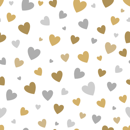 gold silver: beautiful seamless pattern with gold and silver glittering hearts on white background.