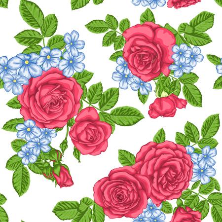 Modelo hermoso de la vendimia con los ramos de rosas y de hojas. El diseño para la tarjeta de felicitación del día de fiesta y la invitación de la boda, el día de tarjeta del día de San Valentín feliz, el cumpleaños, el día de madre y el otro día de fiesta Ilustración de vector