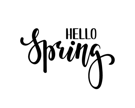 hey: Hello Spring. Hand drawn calligraphy and brush pen lettering.