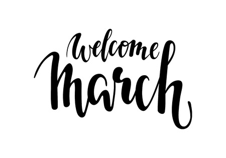 welcome march. Hand drawn calligraphy and brush pen lettering. design for holiday greeting card and invitation of the wedding. Illustration