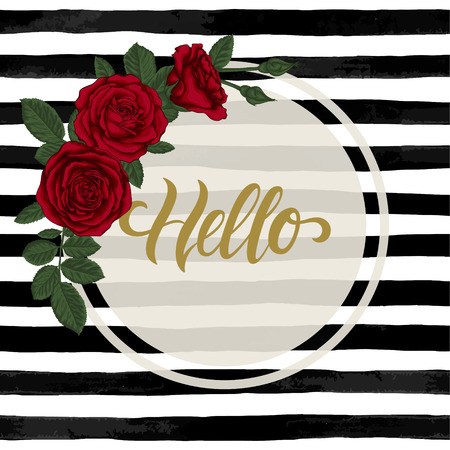 black and white watercolor striped background with Hand drawn lettering hello. design holiday greeting card and invitation of wedding, Happy mother day, birthday, Valentine's day and seasonal holiday